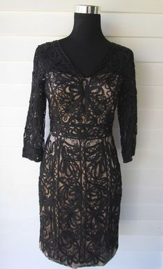 3ff88bd71a5 NWT  448 SUE WONG Black Nude Embroidered Lace Knee-Length Cocktail Dress 4   SueWong