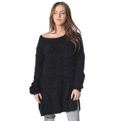Black 3/4 length sweater with boat neckline