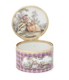 A Meissen gold-mounted purple-mosaic-ground oval snuff-box, circa 1750