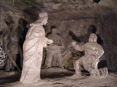 Wieliczka Salt Mines in Poland. Everything in these mines is made from salt, including the chandeliers in the cathedral. Everything in the mines was made and built by the miners themselves over the course of the centuries. Wieliczka Salt Mine, Partner Dance, Holocaust Survivors, Found Art, Central Europe, My Heritage, Adventure Awaits, Vintage Pictures, Lion Sculpture