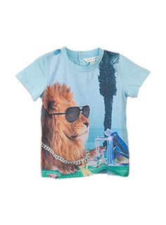Toddler Boys Short Sleeve Tee with Digital Print Blue Air richie polo