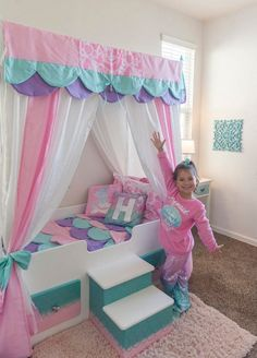 Mermaid Bed Mermaid Canopy Bed Girls Bed Toddler Twin or Full Mermaid Bedding Canopy Top Personalized Step Princess Bed Pink Bed Little Girl Bedrooms, Girls Bedroom, Bedroom Decor, Bedroom Ideas, Little Girl Beds, Little Girls Vanity Diy, Bedroom Designs, Nursery Ideas, Mermaid Bedding