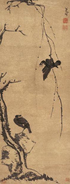 Zhu Da(朱耷) or Bada Shanren(八大山人) ,   柳条八哥图. 比起山水画来,八大的花鸟画创作,更具有他风格个性的典型性。顺治十六年所作《传綮写生册》(台北故宫博物院藏),和康熙五年作的《墨花卷》(北京故宫博物院藏),是八大早期作品,从中可以看到他的水墨写意花鸟画创作,深受沈周、陈淳、徐渭的影响,其用笔较方硬,题材、布局也未脱离前人窠臼,但是画中所表现出的兀傲之气,以及不拘一格的大胆剪裁,如不求物象的完整性,却已预示着他的未来的发展。