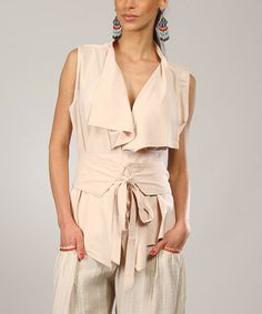 Look at this Beige Asymmetrical Sleeveless Cardigan - Women on #zulily today!