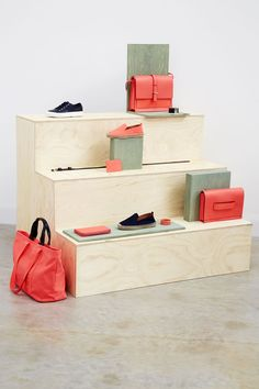Hunting & Narud are a Norwegian-born, London based design studio. They create objects and spaces. Pharmacy Design, Retail Design, Visual Merchandising Fashion, Handbag Display, Shoe Display, Shoe Store Design, Store Window Displays, Display Design, Set Design