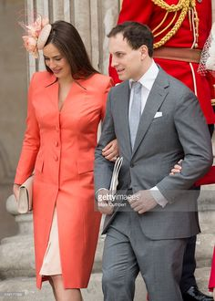 Lord Frederick Windsor and wife Sophie Winkleman attend a National Service of Thanksgiving as part of the birthday celebrations for The Queen at St Paul's Cathedral on June 2016 in London, England. (Photo by Mark Cuthbert/UK Press via Getty Images) Sophie Winkleman, Lord Frederick Windsor, Floral Fascinators, Catherine Walker, English Royalty, Taylor White, Suede Pumps, Blue Lace, Queen Elizabeth
