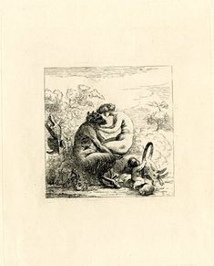 A satyr holding a nymph on his knees while on the right, a cupid is making a goat leap through a ring.  c.1790/94  Etching
