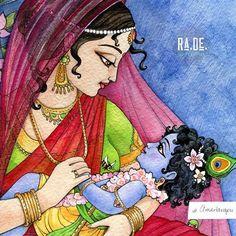 Baby Krishna, Cute Krishna, Krishna Art, Cool Pencil Drawings, Art Drawings Sketches Simple, Lord Shiva Painting, Krishna Painting, Madhubani Art, Madhubani Painting