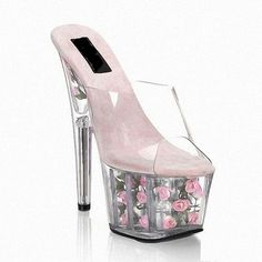 70.00$  Buy here - 15 cm high with cool slippers Noble star temperament gown photo transparent glass slipper shoes sexy flowers  #aliexpresschina