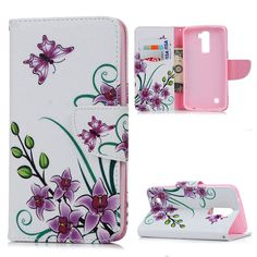 For LG Cases Fashion Color Painted Leather Case Cover Flip Stand Wallet Pouch Flower Butterfly Housing for LG Card Slot Lg Cases, Butterfly House, Lg K10, Pouch, Wallet, Painting Leather, Fashion Colours, Leather Case, Paint Colors
