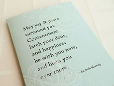 Irish Blessing Wedding Card - Handmade Card -  white, blue, swirls, sparkle. $4.00, via Etsy.