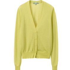 Neon yellow cardigan v-neck sweater Neon yellow v-neck cardigan with four buttons in the front and a stretchy bottom hem. 60% rayon and 40% triacetate. Length: 22 inches. UNIQLO Sweaters