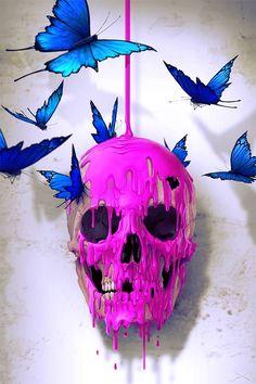caveira rosa derretendo