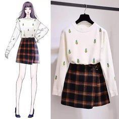 17 Ideas For Fashion Dresses Sketches Chic Cute Fashion, Look Fashion, Girl Fashion, Fashion Dresses, Womens Fashion, Fashion Trends, Fashion Fall, Korea Fashion, Asian Fashion