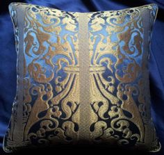 Throw Pillow Cover Blue Sapphire and Gold Silk Lampas Rubelli Fabric Belisario Pattern Backed with Pure Silk Rubelli Fabric - Made in Italy by OggettiVeneziani on Etsy