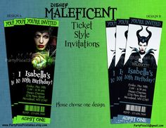 Disney Maleficent Party Invitations - Ticket Style - Printable and Customized with your party details. Digital file. Maleficent Theme Birthday Party Invitations.