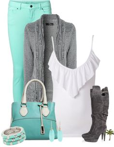 """""""Mint Pants"""" by cindycook10 on Polyvore"""