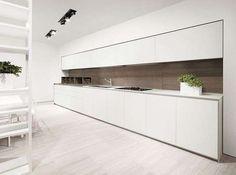Cucina lineare - Idee per arredare una cucina in stile minimal bianca.