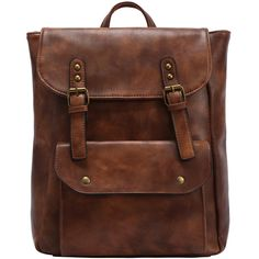 Faux Leather Double Buckle Strap Backpack - Brown ($25) ❤ liked on Polyvore featuring bags, backpacks, accessories, backpack, brown, vintage knapsack, brown backpack, vintage rucksack, vegan bags and brown bag