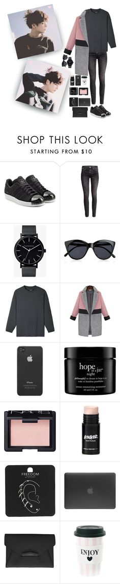 """""""Just live how you want Your life is yours Don't try so hard It's alright to lose ''FIRE''"""" by hyuna-yoona ❤ liked on Polyvore featuring adidas Originals, H&M, The Horse, Le Specs, Incase, philosophy, NARS Cosmetics, Topshop and Givenchy"""