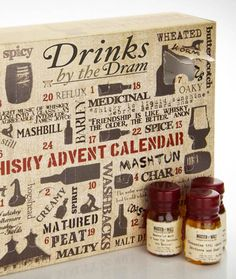 """A website finally offers alcoholic Advent Calendar for adults! With the """"Whisky Advent Calendar"""" and """"Ginvent Advent Calendar"""", each consisting of a box contain"""