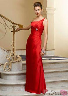 Trumpet One-Shoulder Floor-length Elastic Satin Bridesmaid Dress - Bridesmaid Dresses - Wedding Party Dresses - CDdress.com