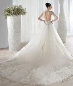 A Line Wedding Dresses Pinterest Wedding Dresses Winter 2016 A Line V Neck Appliqued Sequins Tulle Chapel Bridal Gown With Cap Sleeves And Open Back Wedding Dress Designs From Nicedressonline, $222.52| Dhgate.Com