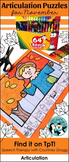 November themed articulation puzzles are great to use in speech therapy or to send home as speech homework! Students can glue the ten strips down or paperclip them together to complete the fall puzzle again and again! Click for more information!