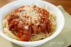 Pasta with Bolognese Sauce - The trick to a good Bolognese sauce is the longer it cooks, the better it tastes so this is a perfect Sunday meal.