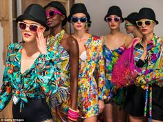 London Fashion Week spring/summer 2013 collections open with a technicoloured bang ... and a big brass band | Daily Mail Online