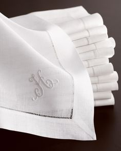 Custom monogrammed hemstitch napkins....Nice touch