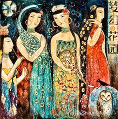 """""""Mystic Garden"""" oil on canvas 24x24  2013 © Shijun Munns  #Art #OilPaintings  #painting Painting People, Figure Painting, Spiritual Garden, Mystic Garden, Original Artwork, Original Paintings, Art Paintings, Garden Drawing, Garden Painting"""