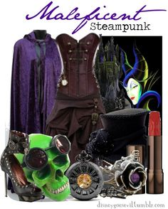 Steampunk Maleficent Clopton I had to. Disney Themed Outfits, Movie Inspired Outfits, Disney Inspired Fashion, Disney Bound Outfits, Disney Dresses, Disney Fashion, Steampunk Kids, Steampunk Cosplay, Steampunk Clothing