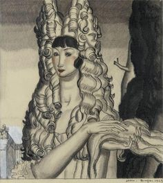 Jean Dupas (French, 1882-1964) Woman with headdress (Femme à la coiffe), 1929 Pencil and China ink drawing on paper, 33.96 x 30.48 cm