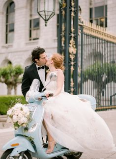 Vespa getaway for a San Francisco City Hall elopement. Photography: Sylvie Gil - sylviegilphotography.com/Read More: http://stylemepretty.com/2013/10/01/parisian-inspired-photo-shoot-from-sylvie-gil/