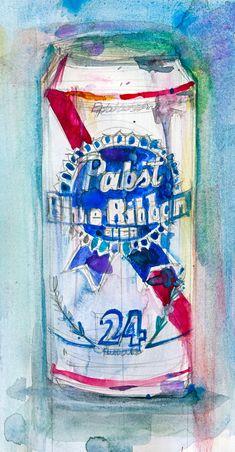 Pabst Blue Ribbon Beer   Original Watercolor Print by dfrdesign, $23.00