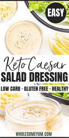 Homemade Keto Caesar Salad Dressing Recipe - 5 minutes + 6 ingredients to the BEST Caesar dressing recipe ever - it tastes great on everything! See how to make keto Caesar dressing with 0 net carbs. Source by wholesomeyum salad dressing Keto Foods, Ketogenic Recipes, Sauce Salade Cesar, Cesar Salat, Keto Sauces, Sauce Barbecue, Salad Dressing Recipes, Caesar Salad Dressings, Easy Caesar Salad Dressing