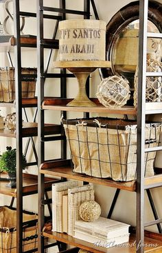 Burlap lined basket would be totally easy to do. Maybe a good look for the coffee bags?