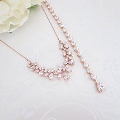 Rose Gold Hintergrund Halskette, Hochzeit zurück Collier, Rose Gold Bridal-Collier-Set, Hochzeit Schmuck-Set, Teardrop-Halskette, Ohrringe
