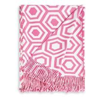 EXCLUSIVE. A fresh, modern take on pink and white. Hexagon intargia design with the luxurious feel of pashmina. Twisted fringe. Made of contemporary (eco-friendly) bamboo and polyester. With every purchase of this limited edition throw, chiasso will donate $25 to the lynn sage foundation.