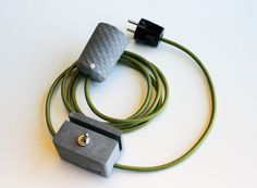 Handcrafted concrete pendant lamp and concrete switch with stylish textile cord.  dark grey + emerald green