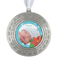 Baby Boy's First Christmas Holiday Photo Ornaments. Personalize the special #christmasornaments for your precious #babyboy! #photoornament #holidayornaments #poinsettia