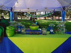 "I like the green tablecloth over the blue one. Photo 1 of TMNT Teenage Mutant Ninja Turtle / Birthday ""Teenage Mutant Ninja Turtle Birthday"" Turtle Birthday Parties, Ninja Turtle Birthday, Ninja Turtle Party, Ninja Turtles, Turtle Baby, 5th Birthday, Birthday Ideas, Little Man Birthday, Ninja Party"