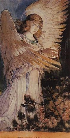Angel with a lamp - Viktor Vasnetsov