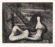 Henry Moore: Reclining Figure Piranesi Background III, etching, 1979