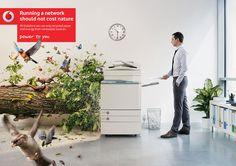 """running a network should not cost nature""  Vodafone Printer by Atila Martins, via Behance"