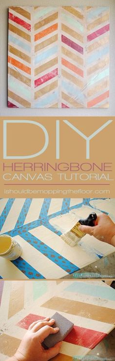 DIY Canvas Painting Ideas - DIY Herringbone Canvas Art - Cool and Easy Wall Art Ideas You Can Make On A Budget - Creative Arts and Crafts Ideas for Adults and Teens - Awesome Art for Living Room, Bedroom, Dorm and Apartment Decorating http://diyjoy.com/diy-canvas-painting #artsandcraftshouse,