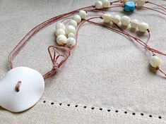 Math Jewelry  Pi Necklace  Turquoise Mother of Pearl Cotton