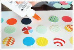 paper scraps + circle punch + frame + glue