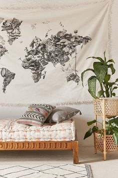 Black and white floral world map tapestry - Armando Veve Map Tapestry by Urban Outfitters